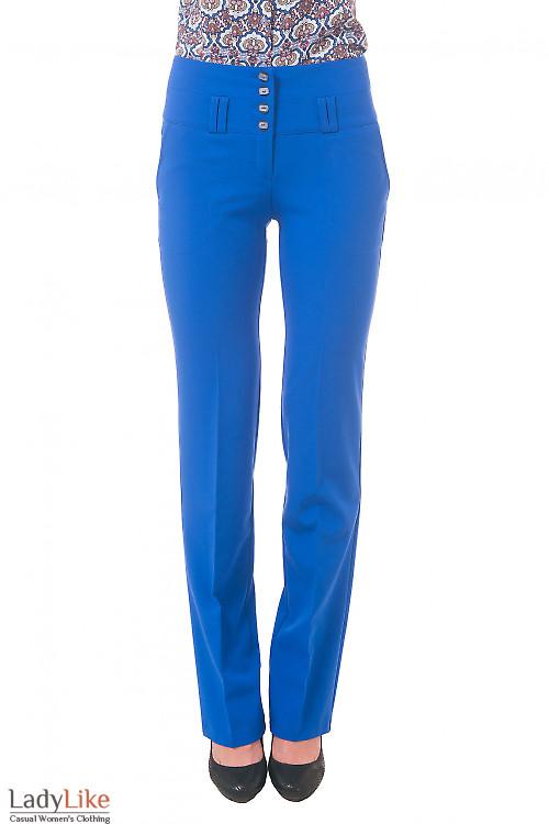 Фото Брюки ярко-синие с завышенной талией Деловая женская одежда