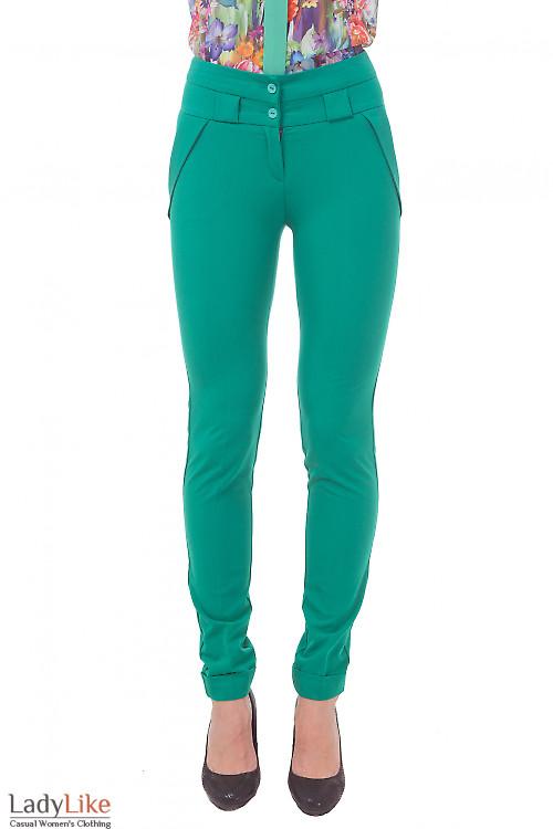Брюки зеленые с завышенной талией Деловая женская одежда