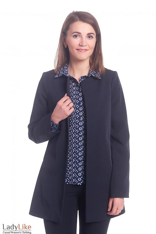 Кардиган синий с длинным рукавом Деловая женская одежда
