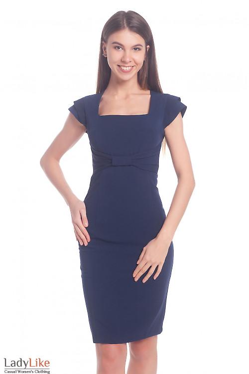 Нарядный синий сарафан с бантиком Деловая женская одежда