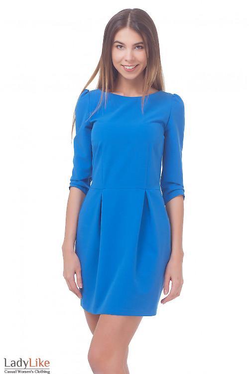 Платье голубое с юбкой-тюльпаном Деловая женская одежда