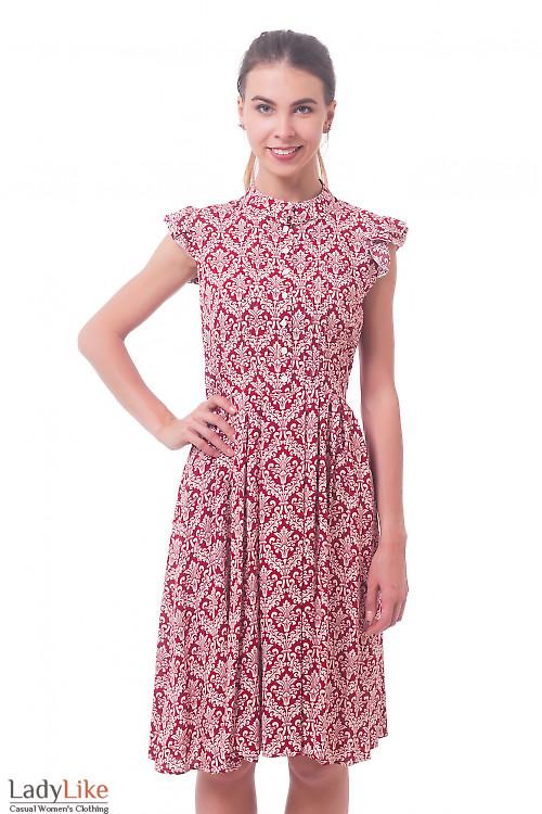 Платье красное в белый узор Деловая женская одежда