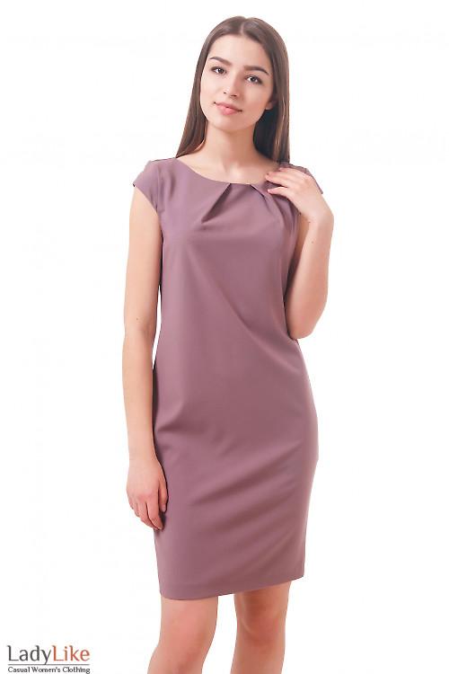 Фото Платье с защипами и карманами сиреневое Деловая женская одежда