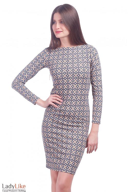 Фото Платье трикотажное в синие ромбики Деловая женская одежда