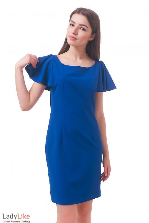 Фото Платье ярко-синее с крылышками Деловая женская одежда
