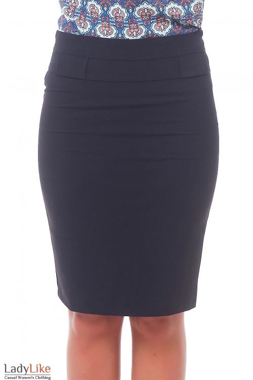 Юбка черная с фигурной кокеткой. Деловая женская одежда