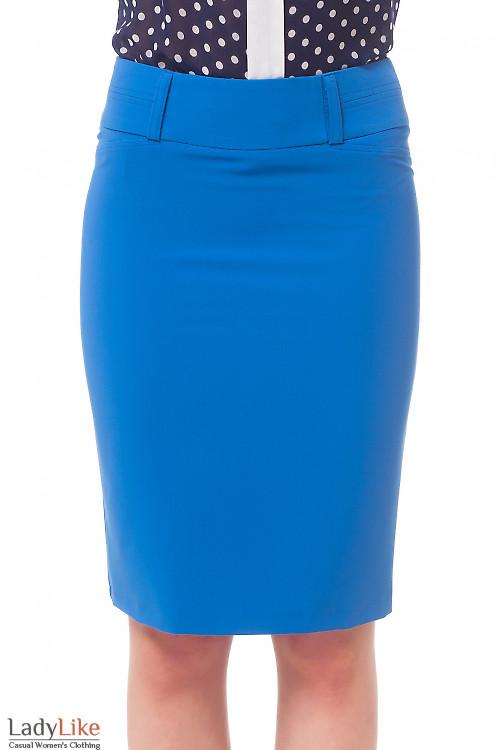 Юбка голубая со строчкой на поясе. Деловая женская одежда