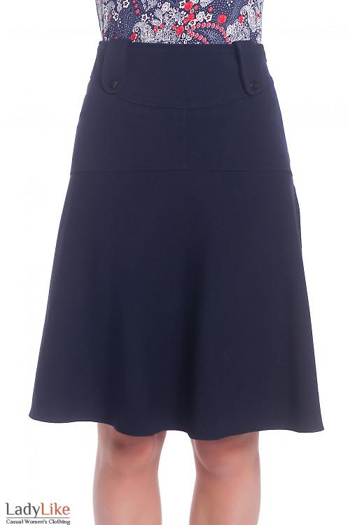 Юбка синяя на широкой кокетке теплая Деловая женская одежда