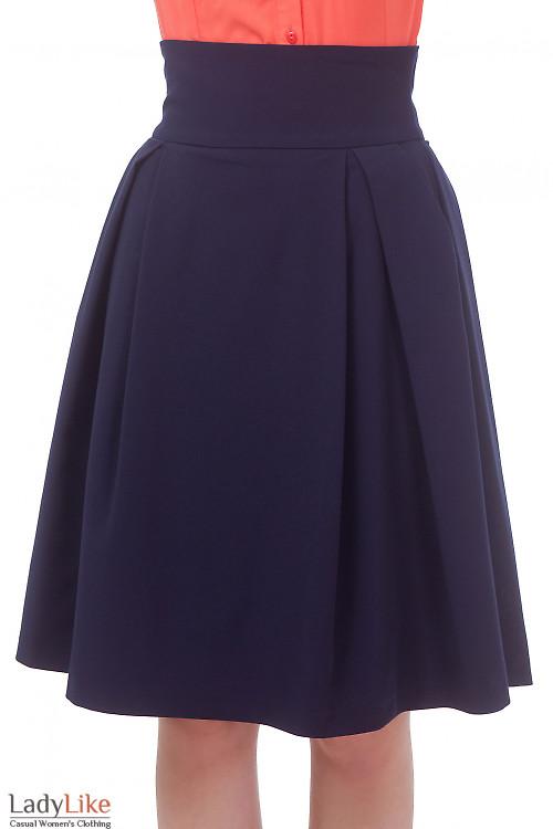 Юбка синяя в складку и высокой талией Деловая женская одежда