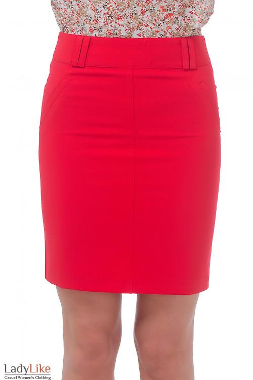 Юбка ярко-красная с карманами Деловая женская одежда