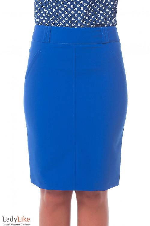 Юбка ярко-синяя с карманами Деловая женская одежда