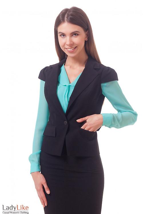 Фото Жилетка черная с рукавом-фонариком Деловая женская одежда