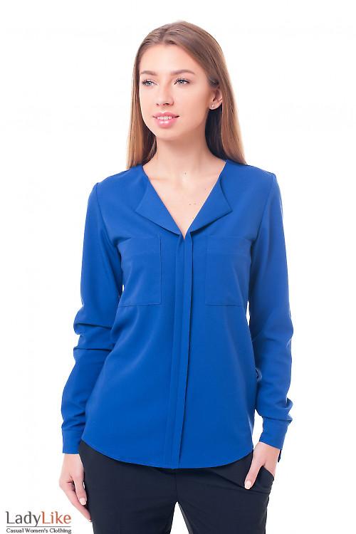 Блузка электрик с накладными карманами Деловая женская одежда фото