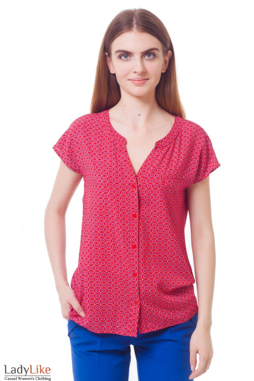 Блузка красная в голубой ромбик Деловая женская одежда