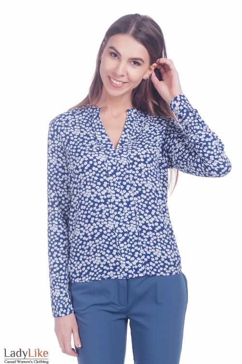 Блузка в ромашки с длинным рукавом. Деловая женская одежда фото