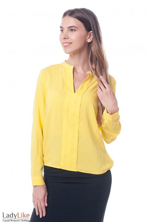 Блузка желтая с двойной планкой Деловая женская одежда фото