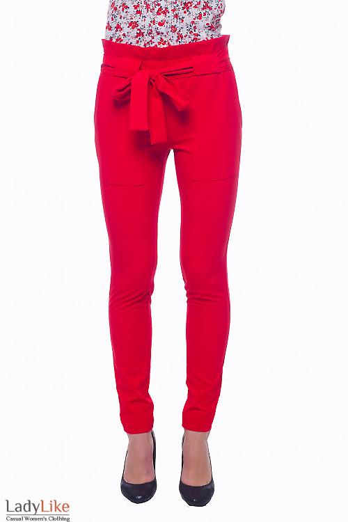 Брюки красные с накладными карманими Деловая женская одежда