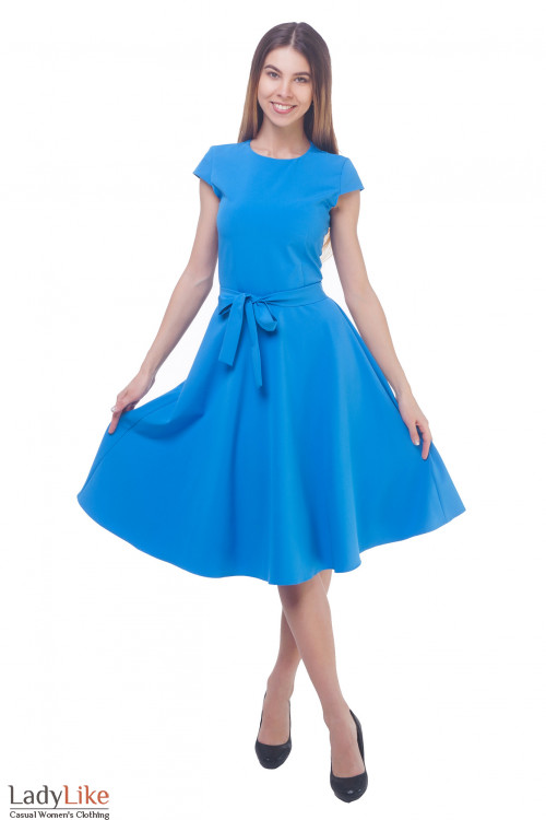 Купить пышное голубое платье с рукавчиком Деловая женская одежда
