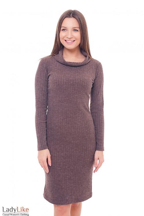 Платье коричневое с хомутом Деловая женская одежда фото