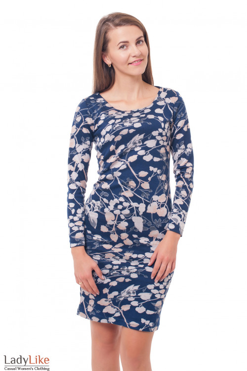 Платье темно-синее трикотажное в цветы Деловая женская одежда фото
