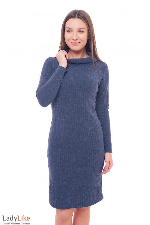 Платье теплое синее с воланом Деловая женская одежда фото