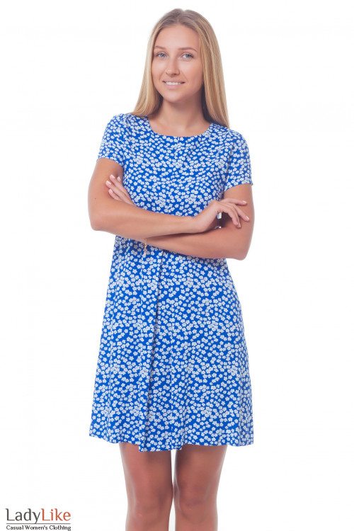 Платье в ромашки со встречной складкой. Деловая женская одежда