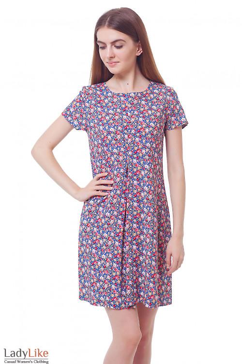 Платье в розы со встречной складкой. Деловая женская одежда