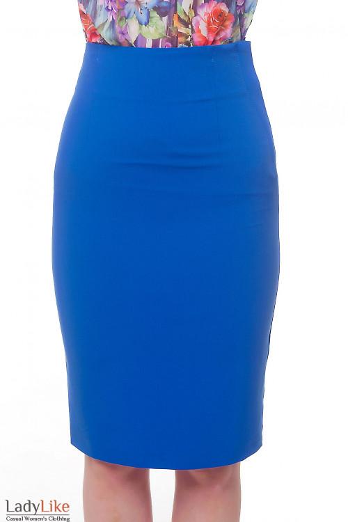 Юбка-карандаш цвета электрик с завышенной талией Деловая женская одежда фото