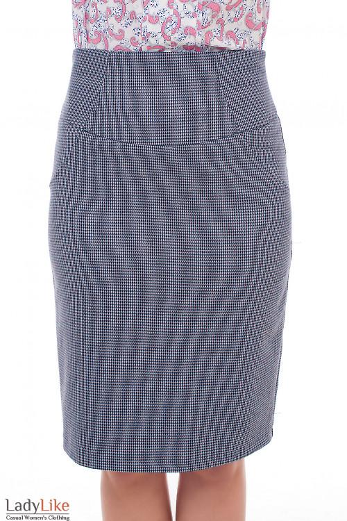 Серая юбка в бордовую лапку. Деловая женская одежда фото