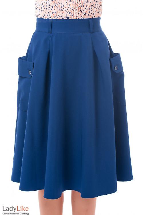 Юбка синяя с боковыми накладными карманами. Деловая женская одежда