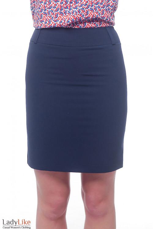 Юбка синяя со шлевками на поясе. Деловая женская одежда
