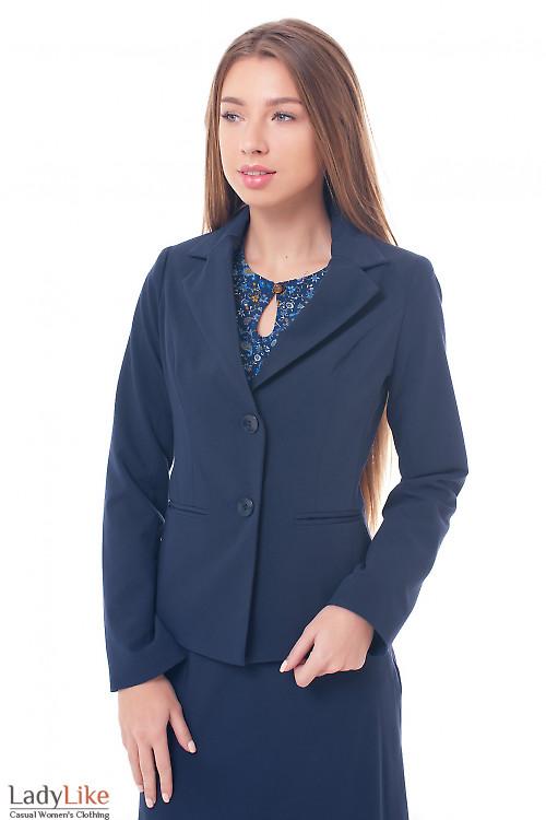Жакет синий на двух пуговицах Деловая женская одежда фото