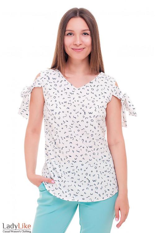 Блузка белая с завязками на плечах Деловая женская одежда фото