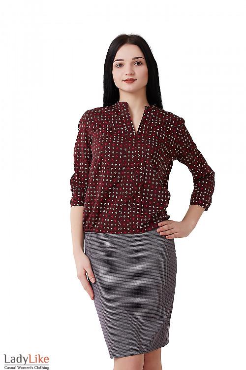 Блузка бордовая в бежевый ромбик Деловая женская одежда фото