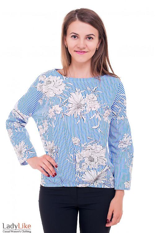Блузка полосатая в цветы с удлиненной спинкой Деловая женская одежда фото