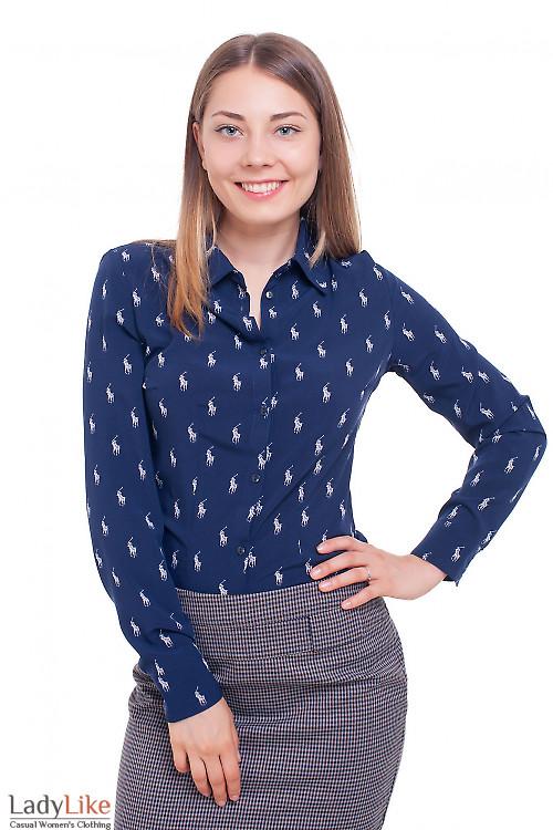 Блузка синяя поло Деловая женская одежда фото