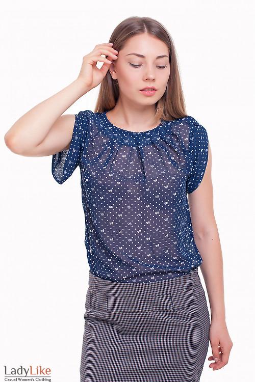 Блузка синяя в бантики с защипами Деловая женская одежда фото