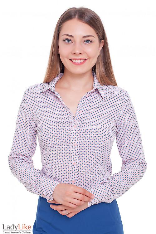 Блузка в мелкий синий и розовый цветочек Деловая женская одежда фото