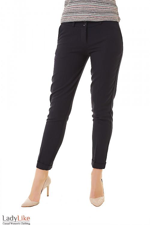 Купить брюки женские синие теплые с манжетой Деловая женская одежда фото