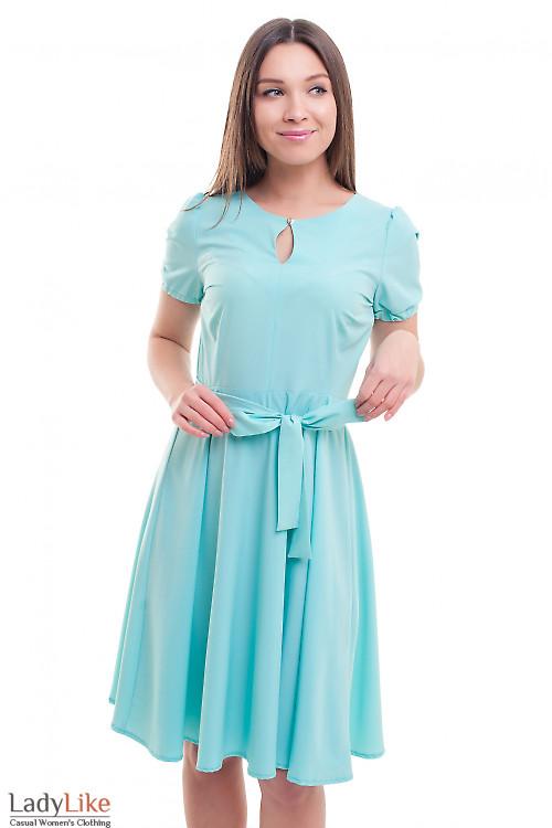 Платье бирюзовое с резинкой на рукаве Деловая женская одежда фото