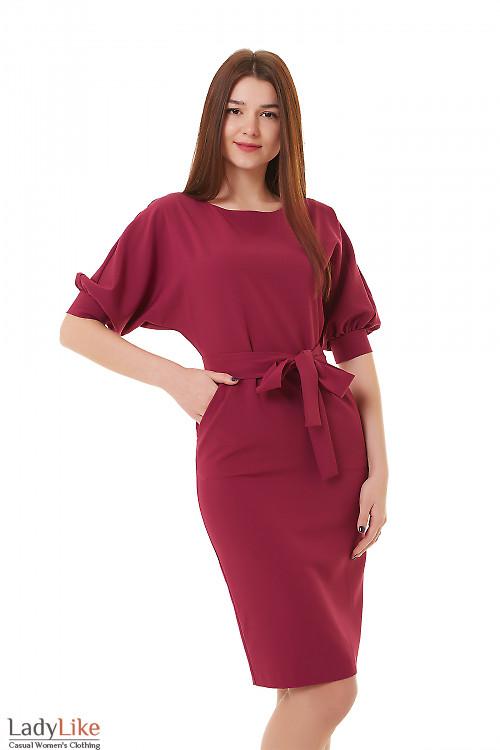 Платье фуксия с карманами и пышным рукавом Деловая женская одежда фото