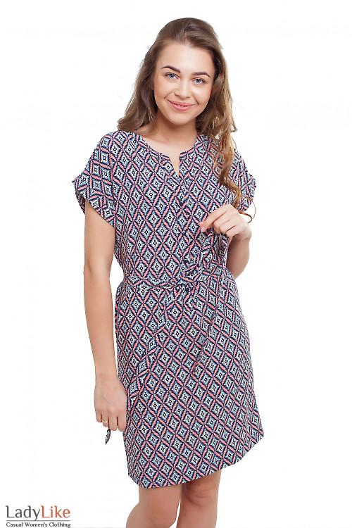 Платье коралловое в ромбики Деловая женская одежда фото