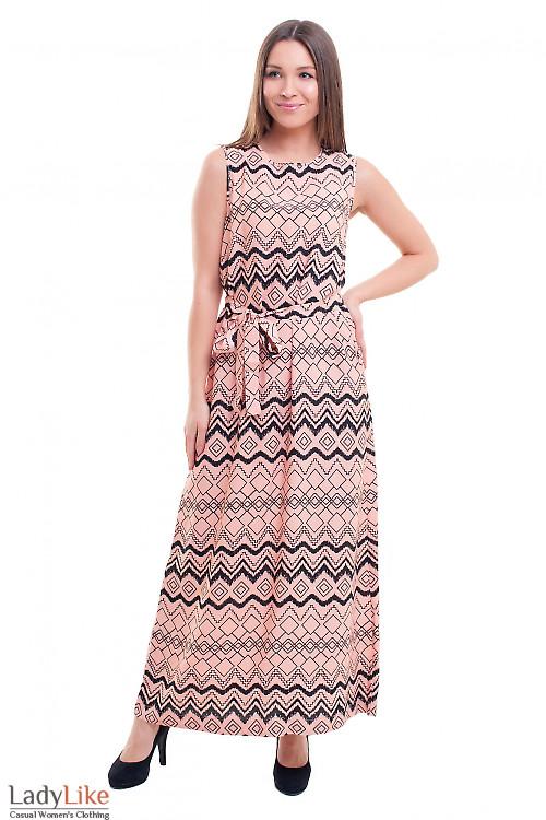 Платье персиковое в черный узор Деловая женская одежда фото