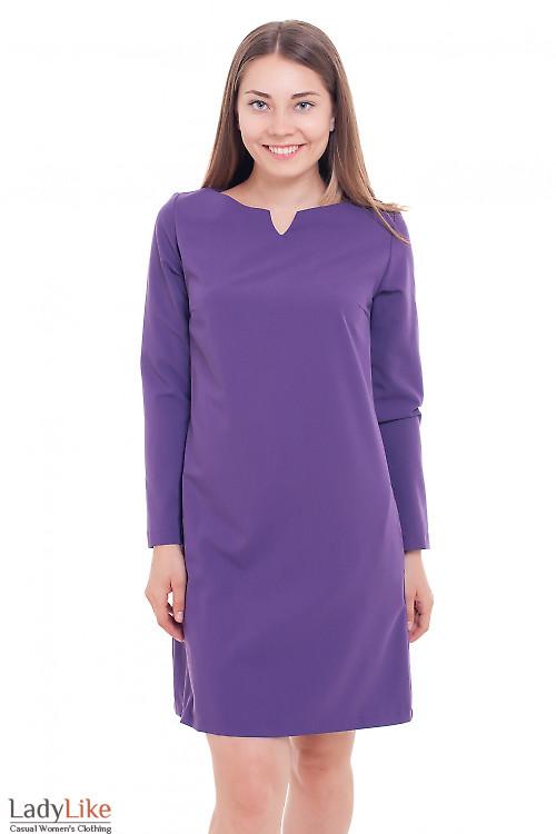 Платье прямое фиолетовое Деловая женская одежда фото