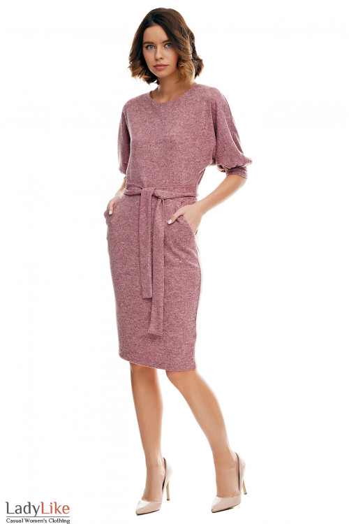 Купить платье розовое меланжевое с карманами Деловая женская одежда фото