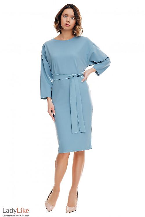 Платье серое с рукавом летучая мышь. Деловая женская одежда