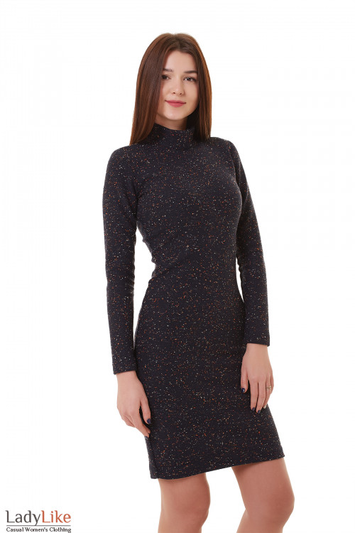 Платье синее шерстяное с точками Деловая женская одежда фото