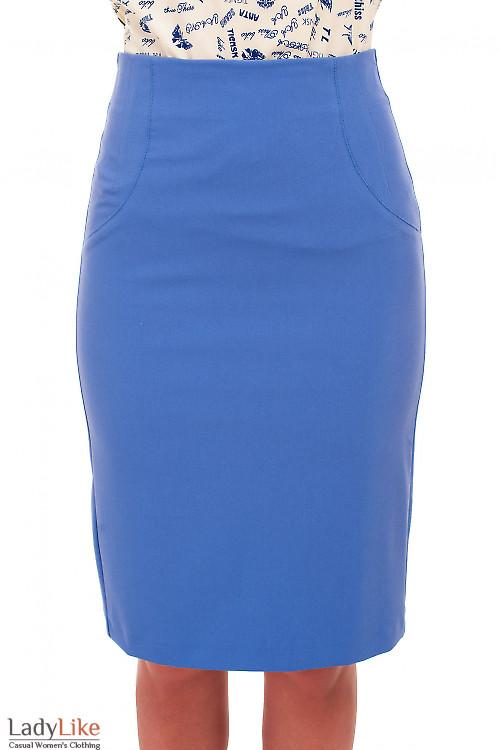 Юбка карандаш голубая без пояса. Деловая женская одежда