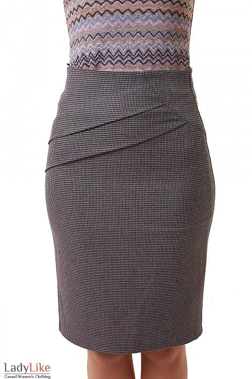Юбка в серую лапку со складками на поясе Деловая женская одежда