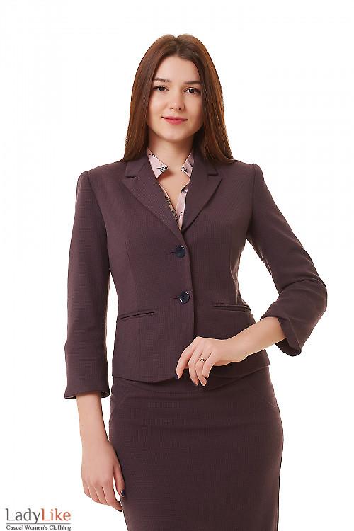 Жакет классический в бордовую лапку Деловая женская одежда фото
